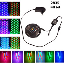 10M 15M 5M Music  waterproof 2835 RGB LED Strip light 5050 christmas 3528 RGB lLight LedTape+IR Music Remote Controller Full Set