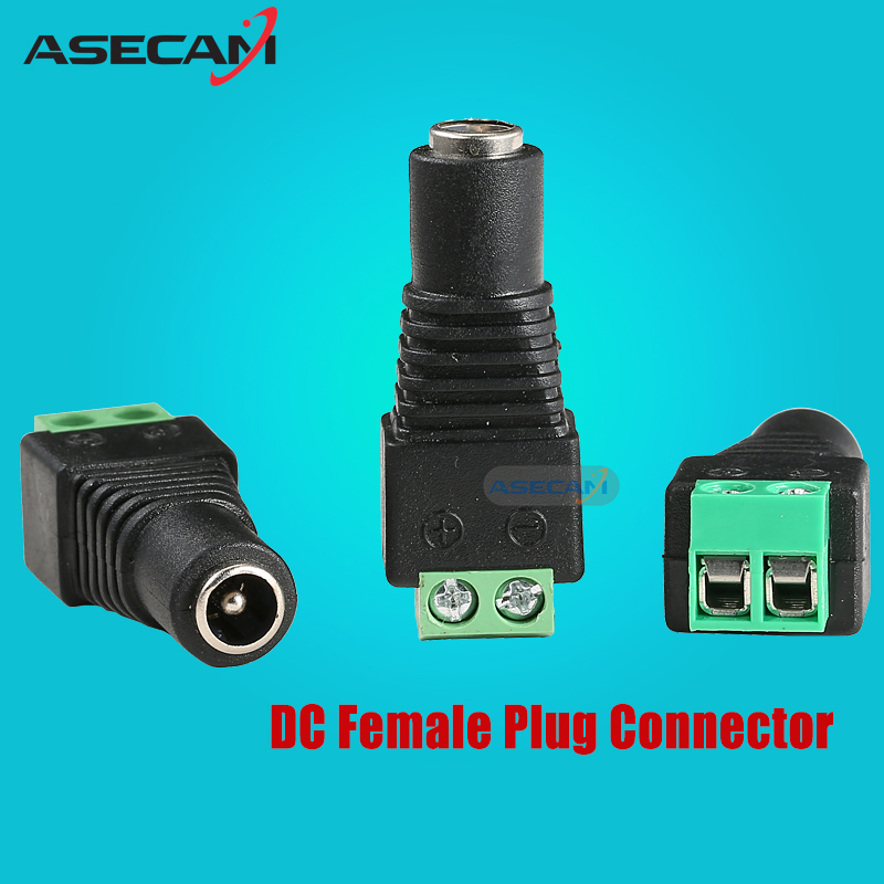 Female DC Power Jack Connector Plug Adapter 5.5*2.1mm For 5050 3528 Single Color LED Strip Light for CCTV Camera System(China (Mainland))