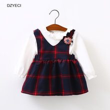 DZYECI Autumn Winter Baby Girl Dress Up Top Cloth Back To School Uniform Little Infant Kid Flower Plaid Party Frock Child Elza