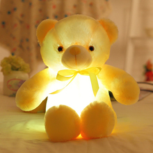 Music Creative Light Up LED Bear Stuffed Animals Plush Toy Colorful Glowing Plush Stuffed Bear Christmas Gift toys for Kids(China)