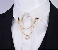 Europe and America Fashion Star Collar Chain Brooches with Chain for Men