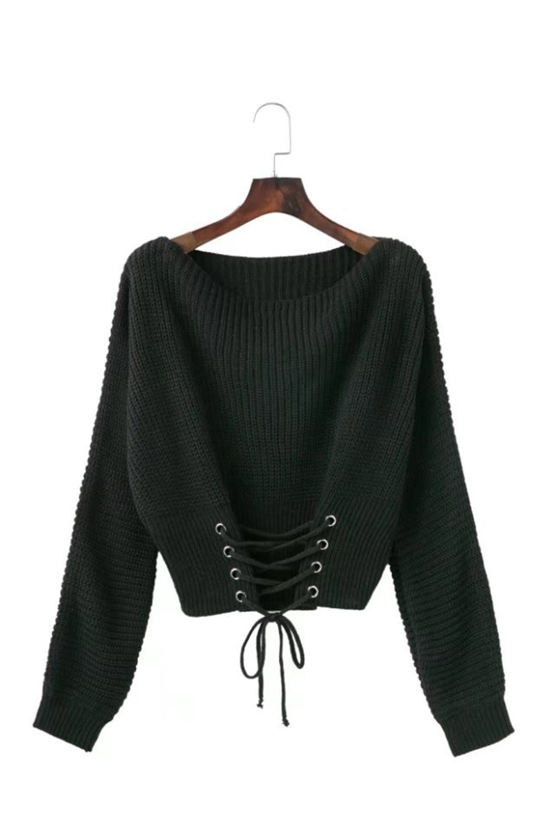 Autumn Lace Up Sweater, Women's Knitted Solid Jumper, Adjust Waist Bandage Sweater 17