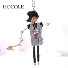 Handmade Statement Maxi Doll Necklace with a star in hand Cloth Girl Necklace Chain Pendant 2017 Fashion New Jewelry For Women(China)