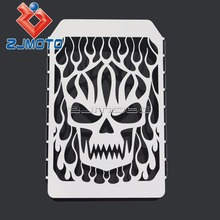 Stainless Steel Chrome Skull Flame Radiator Grille Cover Stainless For Kawasaki Vulcan VN 1500(China)