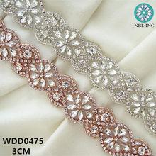 (1 YARD) Bridal beaded silver rose gold clear crystal rhinestone applique  trim iron on for wedding dress garment WDD0475 201d37dd7e19