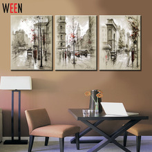Canvas Printings Retro City Street Landscape 3 Piece Modern Style Cheap Pictures Decorative Wall Art No Frame Prints Gift(China)