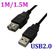 200pcs/lot*Newest 1m 1.5m USB to usb 2.0 A male plug to A female jack extension Cord Leads Wire Cable EXTENSION Cable Lead