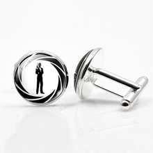 H:HYDE 2017 Silver Color Cufflinks Classic James Pattern Cufflinks English Letter Best Man Mens Quality Shirt Cufflinks(China)