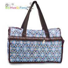 Designer blue flower print travel bag women waterproof fold big baggage duffle over night carry on bags bolsa de viagem feminina