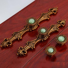 128mm 96mm european retro furniture handles bronze dreser kitchen cabinet door handles blue stone drawer knob top quality handle