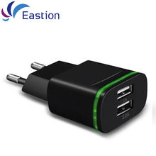 Eastion LED Light 2 Ports USB Charger EU Plug 5V 2A Mobile Phone Wall Adapter For iPhone 5 6 6S iPad Samsung Charging Device