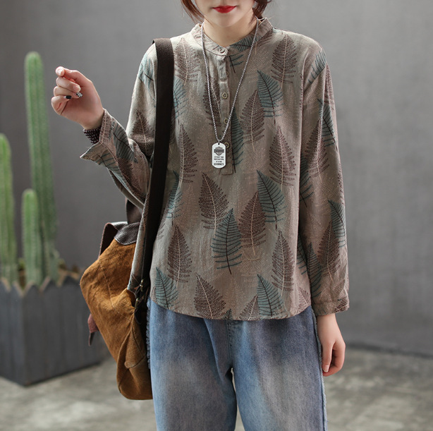 Spring Blouse Loose Retro Women Pullovers Shirt New Tops Stand Button Print Mori girl Casual Blouse 2019 Ladies Shirt