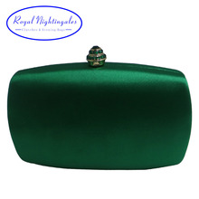 Elegant Hard Box Clutch Silk Satin Dark Green Evening Bags for Matching Shoes and Womens Wedding Prom Evening Party(Hong Kong,China)