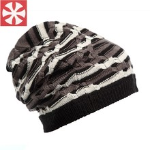 CaiZhongHai / B58 Zebra Stripes Winter Hats For Women Men Beanies Knitted hat Caps Wool Hip Hop Skate Skull Caps(China)