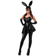 Buy Black Women's Cosplay Costume Sexy Wet Look Faux Leather Backless Bunny Costumes Women Latex V Neck Halloween Costumes Women