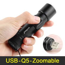 Mini USB LED Flashlight Rechargeable Q5 Handy Powerful Flashlight 3-Modes Zoomable LED Torch Light Lanterna For Bike Outdoor(China)