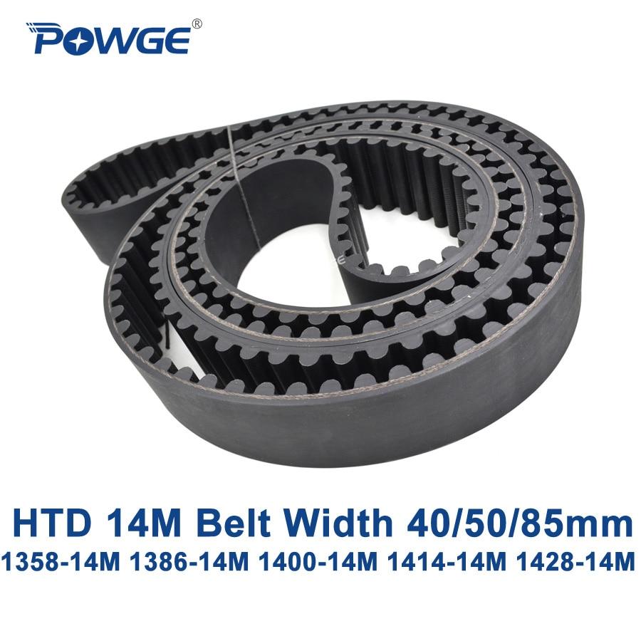 POWGE HTD 14M synchronous belt C=1358/1386/1400/1414/1428 width 40/50/85mm Teeth 97 99 100 101 102 HTD14M 1400-14M 1428-14M<br>