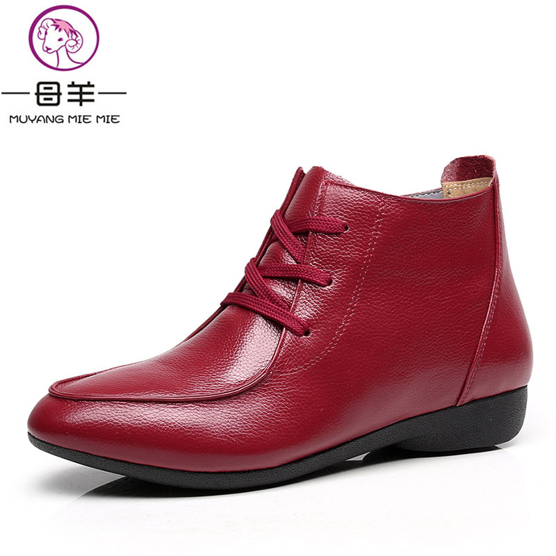 MUYANG MIE MIE Size 33-43 Winter Women Shoes Woman Comfortable Flat Ankle Boots 7 Colors Casual Lace-up Snow Boots Women Boots<br>