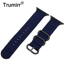 Nylon Watchband + Adapters for iWatch Apple Watch 38mm 42mm Zulu Band Fabric Strap Wrist Belt Bracelet Black Blue Brown Green(China)