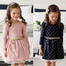 Baby Princess Girls Lace Polka Dot Long Sleeve Party Gown Formal Dress With Belt(China)