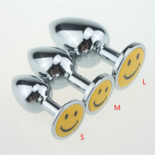 Buy New S/M/L Smile Face Rhinestone anal plug metal butt plug erotic toys,anal beads metal anal pug sex toy,anal toys,butt plugs