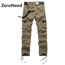 Brand Male Trousers 100% Cotton Cargo Pants With Zipper Pockets Pantalon Cargo Hombre Casual Men Long Work Pants Joggers 116