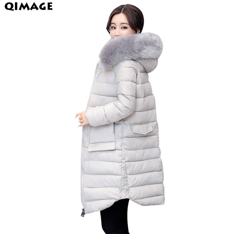 QIMAGE New Winter Fur Collar Parkas For Women  2017 SlimCotton-padded Jacket Coats Female Thick Warm Outwear Parkas Women CoatsÎäåæäà è àêñåññóàðû<br><br>
