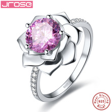 Jrose Luxurious Flower Design 2.85CT Pink CZ Ring 100% 925 Sterling Silver Jewelry for Women Engagement Jewelry Elegant Gift Box