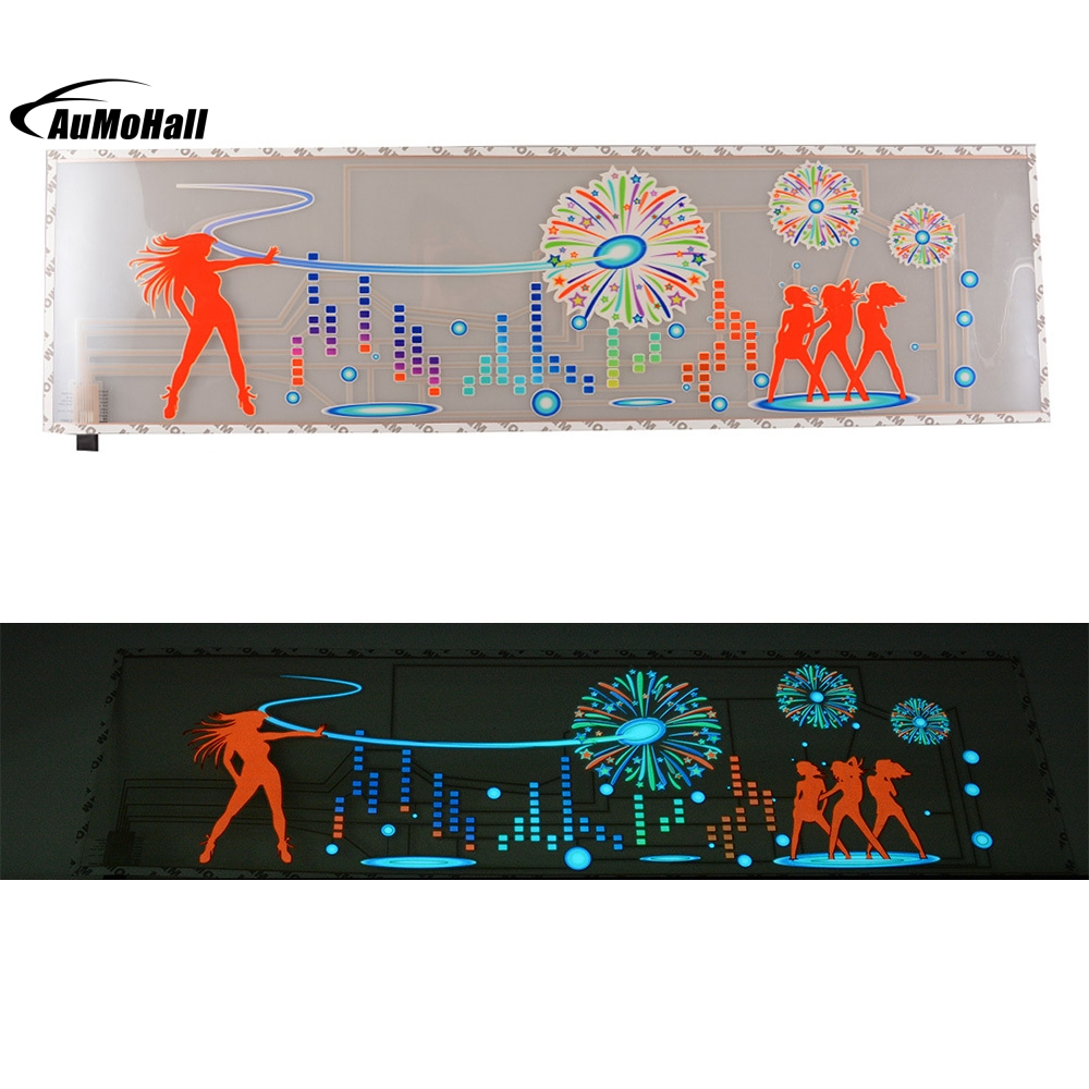 Multi Colour Lamp Music Rhythm 90x25cm LED Flashing Light EL Sound Activated Equalizer Glow Flash Panel<br>