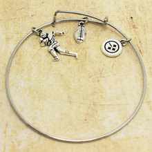 Antique Silver Plated Round Rugby Logo Pittsburgh Steelers Sports Man Baseball Charm Bracelet Jewelry Wire Bangles Bracelet(China)