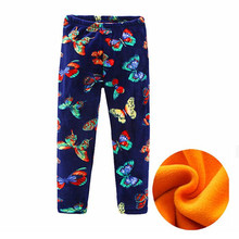 Autumn Winter Girls Leggings Thick Warm Kids Girl Pants Floral Children Trousers Pleuche Leggings for Baby Girl Clothes