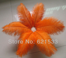 100pcs/lot 20-25cm 8-10inches Orange Ostrich Feather Ostrich drab feathers Wedding Centerpieces freeshipping