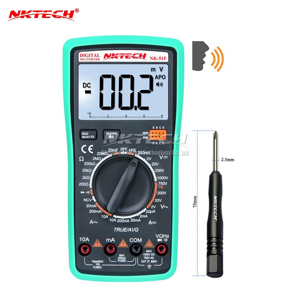 NKTECH Digital Multimeter Voice Value NK-51F True RMS Capacitance Resistance AC DC Voltage Current Voltmeter Meter Diode Tester<br>