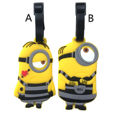 Cute Minions Suitcase Luggage Tag Cartoon Despicable Me ID Address Holder Baggage Label Silicone Identifier Travel Accessories