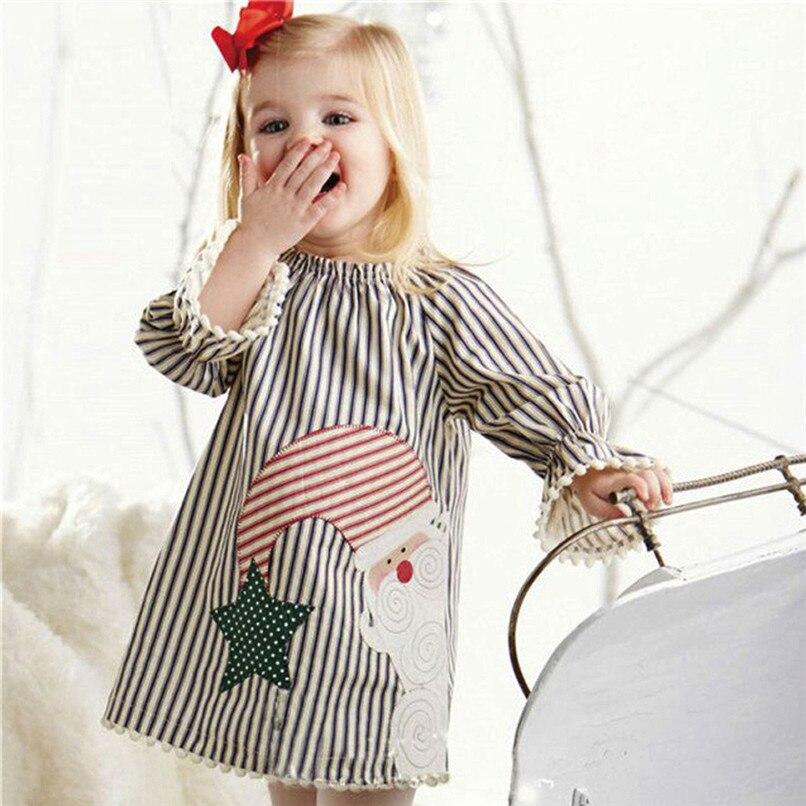 Christmas Clothes Girl Clothes Girls Dress Toddler Baby Kids Girls Santa Printed Striped Long Sleeve Princess Dress AU29#F (8)