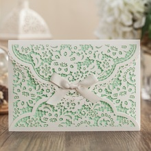 White Laser Cover Wedding invitation card With Green Inner Sheet, Business invitation card, birthday party invitation card(China)