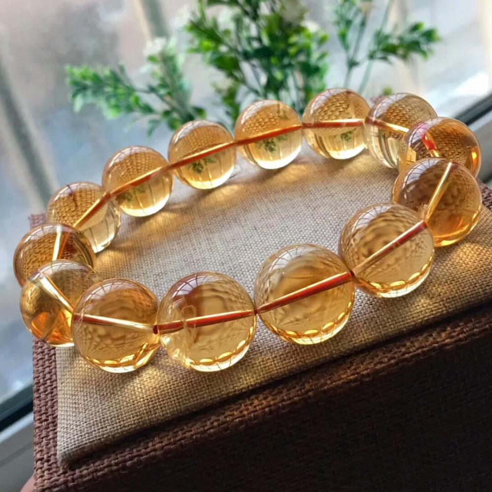 17mm Natural Citrine Quartz Crystal Yellow Bracelet Round Beads Wealthy Gemstone Stone Stretch Woman ManAAAAAA (1)