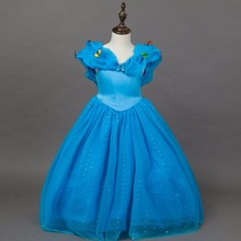 Fashion party designer kids wear christmas pageant dresses blue kids cinderella dress princess costume