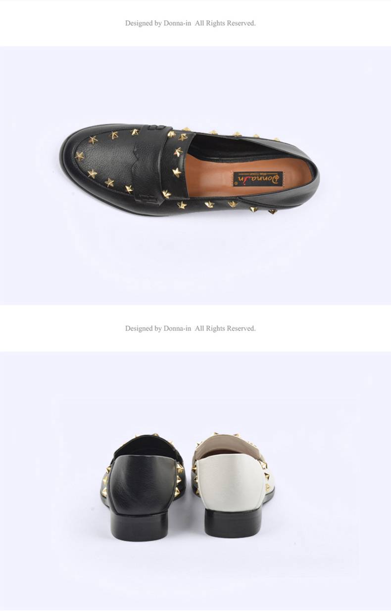 Donna-in Brand Flats Shoes Women Genuine Leather Loafers Slip on Mules low Heels Round Toe Casual Pentagram Ladies Shoes Autumn (11)