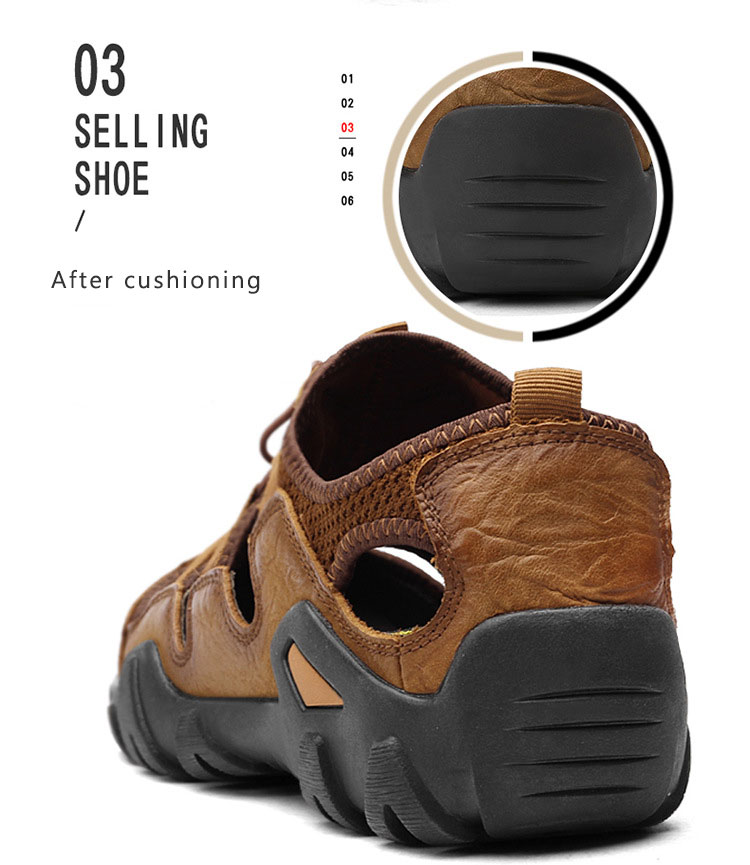 BACKCAMEL 2018 Summer New Sandals for Men Fashion Baotou Beach Slipper Sandals First Layer Leather Wear Casual Men's Shoes Hot 12 Online shopping Bangladesh