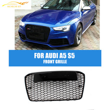 RS5 Style Front Bumper Honeycomb Grille For Audi A5 2013 Europe Version Black Frame Black Mesh Grill Car Tuning Parts