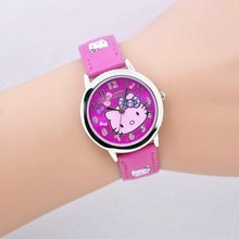 Free shipping fashion cartoon quartz watch Wristatch casual wear hello kitty rhinestone watch women girls kids high quality(China)