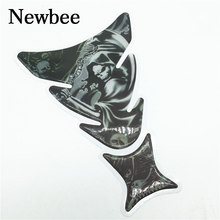 Newbee 3D Motorcycle Decal Gas Oil Fuel Tank Pad Protector Skull Racing Car Sticker For Yamaha Honda Suzuki Kawasaki BMW Ninja(China)
