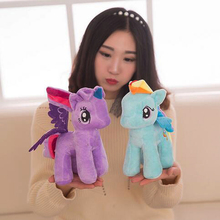 25cm Cute Little Horse Plush Toys Lovely Unicorn Doll Stuffed Animal Toys Cartton Rainbow Horse Dolls Wedding Gifts