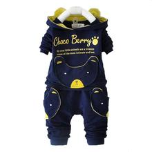 new autumn fashion baby cartoon clothing sets hooded jacket + trousers suit for infant chilren boys girls pullover clothes(China)