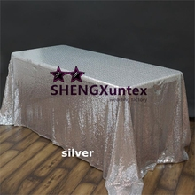 Silver Big Size Rectangular Sequin Table Cloth \ Cheap Wedding Tablecloth