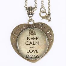 Keep Calm And Love Dogs Logo Pendant Necklace Bulldog Charm Handmade New Style Heart-shaped Necklace Jewelry Love Gift