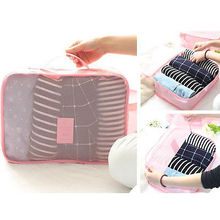Waterproof Storage Bag Cute Packing Cube Travel Bags Canvas Clothes Organsier Shoes Pouch 6 pecs