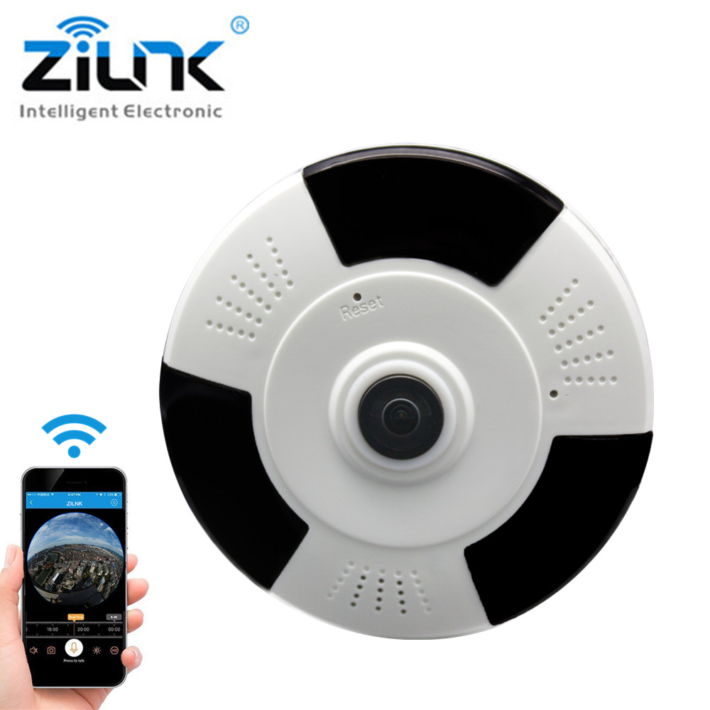 ZILNK 1080P HD 360 Degree IP Camera WI-FI Fisheye Panoramic VR Cam Wireless Ntework Surveillance CCTV Camera V380 View<br>