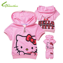 Children Cotton Clothing Set Hello Kitty Short Sleeve Hoodies with Pants Baby Girl Cute Fashion Summer Clothing Free shipping(China)